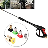Estink Replacement Pressure Washer Gun,High Pressure Cleaner 1/2'' BSP Washer Spray Gun Dust Wash Tool with 5 Nozzles Max 4000 PSI