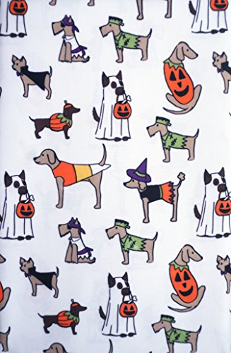 Tablecloth 70 Inches Round Halloween Pattern Dogs Puppies in Costumes Autumn Fall Ghosts Pumpkins Easy Care Fabric Hallow Home -