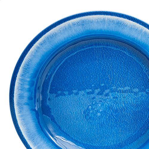 Amazon Basics 12-Piece Melamine Dinnerware Set - Service for 4, Blue Crackle Glaze Salted Salad
