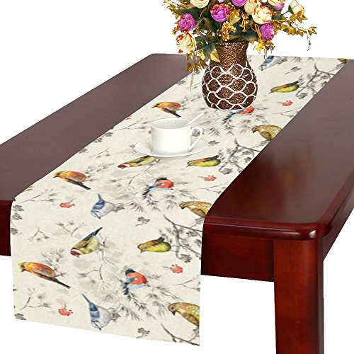 InterestPrint Vintage Little Bird on Tree Branch Polyester Table Runner 16 X 72 Inches, Watercolor Painting Rectangle Table Cloth Placemat for Office Kitchen Dining Wedding Party Home Decor (Vintage Paintings Bird)