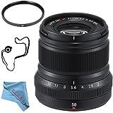 Fujifilm XF 50mm f/2 R WR Lens (Black) 16536611 + 46mm UV Filter + Fibercloth + Lens Capkeeper Bundle