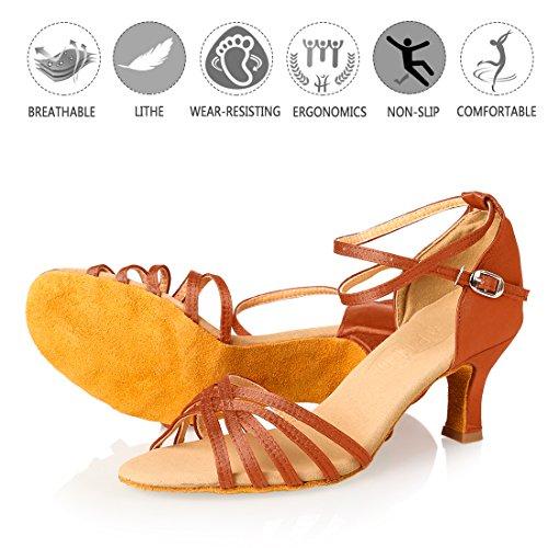 APTRO Damen Schuhe Tanzschuhe Ballsaal Latin Tanzen Silber Sandalen Braun