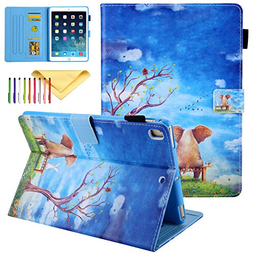 iPad Air 3 Case Kids 2019 (A2152/A2123/A2153), iPad Pro 10.5 Case 2017 (A1701/A1709), Cookk PU Leather Smart Cover Case with Card Slots & Magnet Buckle (with Auto Sleep/Wake), Elephant Rabbit