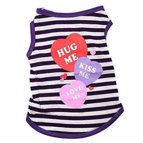 eDealMax 3 Coeurs Clin Baiser Love Me Motif de Chien chiot vtements d't T-Shirt Costume Veste Taille M Violet Blanc Stripe