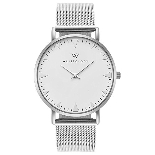 WRISTOLOGY Stella Womens Silver Boyfriend Watch Metal Mesh Changeable Strap Band - Mens Watches With Metal Mesh Band