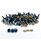 100pcs 10mm 7 Colors Plastic Safety Eyes For Teddy Bear Doll Animal Puppet Craft Without Box (Blue)