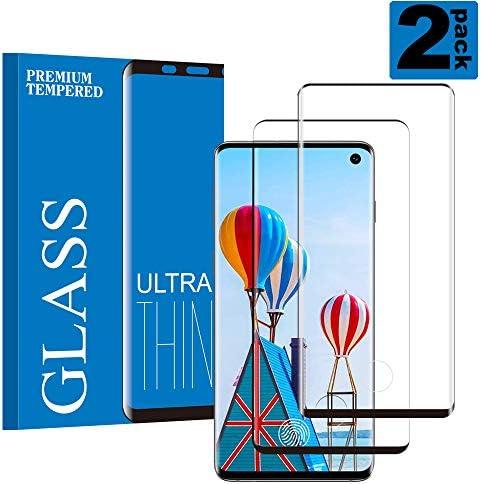 Galaxy S10 Film Protection Ecran Verre Trempé, [2 Pièces] [Compatible avec Lecteur d'Empreinte] [sans Bulles d'air] [Anti Rayures] [3D Full-Cover] Convient pour Samsung Galaxy S10