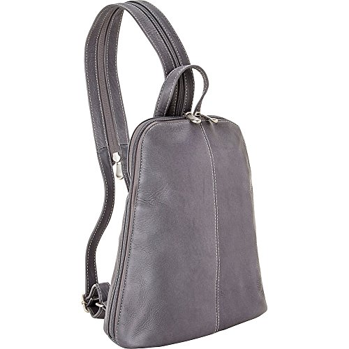 le-donne-leather-u-zip-womens-sling-back-pack-gray