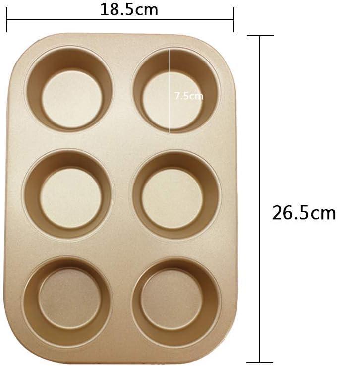 6 Cups Cupcake Tray Non-Stick Carbon Steel Muffin Tray,26.5cm x 18.5cm x2.8cm