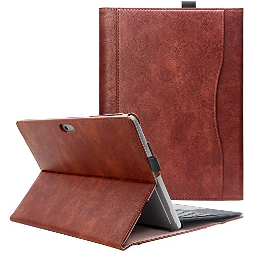 Surface Go Case, COO Leather PU Sewing Protective Case Folio Cover with Surface Pen Holder and Pocket - Slim Case for Microsoft Surface Go 10 inch 2018