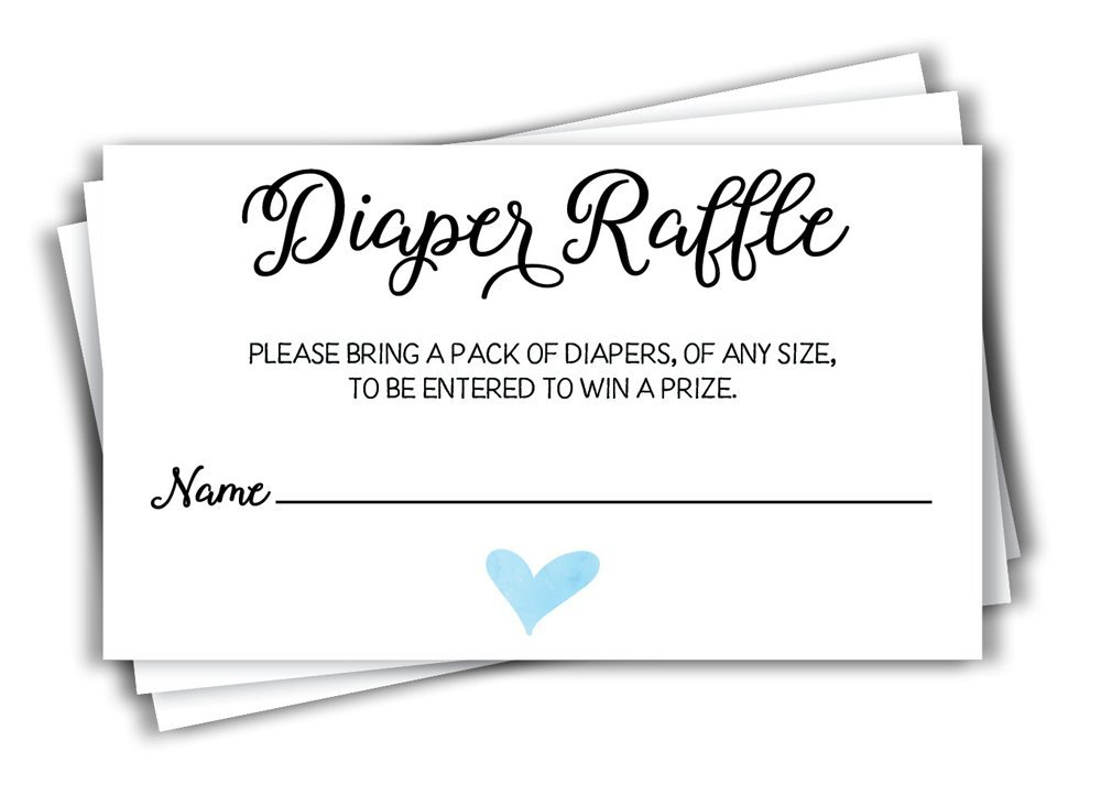 50 Diaper Raffle Ticket Lottery Insert Cards for Blue Boy Heart Baby Shower Invitations, Supplies and Games for Baby Gender Reveal Party, Bring a Pack of Diapers to Win Favors, Gifts Prizes (50-Cards)