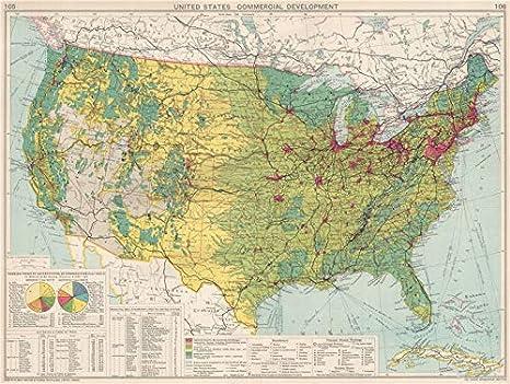 Estados Unidos Desarrollo Comercial Industrial Fabricación Tierras Agrícolas 1925 Mapa Antiguo Mapa Mapa Antiguo Vintage Ee Uu Mapas Home Kitchen