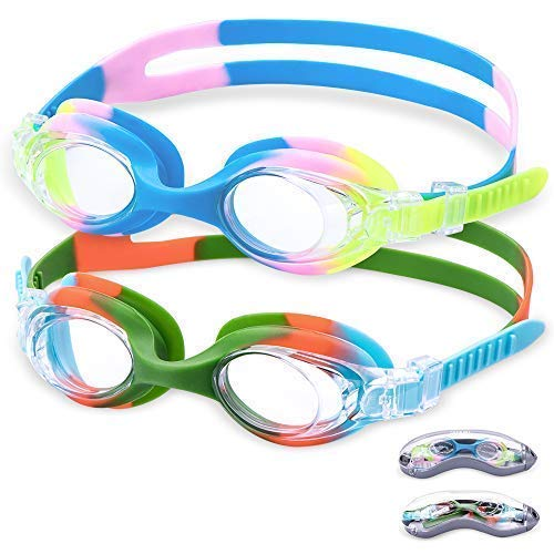 Aegend Kids Swim Goggles, 2pack, Rainbow Swimming Goggles for Little Boys and Girls Children Swim Goggle (Age 3-6), Clear Vision, Anti-Fog, UV Protection, No Leak, Soft Silicone, Free Protection Case