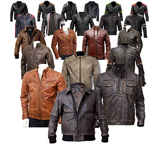 Men's Motorcycle Cafe Racer Vintage Distressed Jacket Collection On Amazon (Black - Brando Slimfit Ninja Negan WD Real Leather Jacket, XX-Small/Body Chest 34