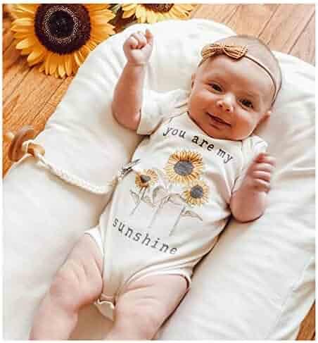 e23bdb964 S.H.EEE Newborn Toddler Infant Baby Girl Boy Jumpsuit Short Sleeve Letter  Sunflower Print Romper Bodysuit