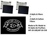 2-Pack PREMIUM Idylis A Hepa Air Purifier Filter PLUS 2-Pack Carbon comparable filters for IAP-10-100, IAP-10-150, AC-2119; Motor City Home Products Quality Replacement