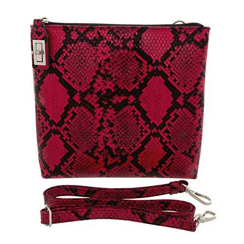 'Elle' Large Red Leather Snakeskin Locking Crossbody Handbag by Samoe Style