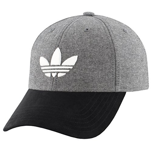 adidas Men's Originals Trefoil Plus Precurve Structured Cap, Black Chambray/Black Suede, One Size