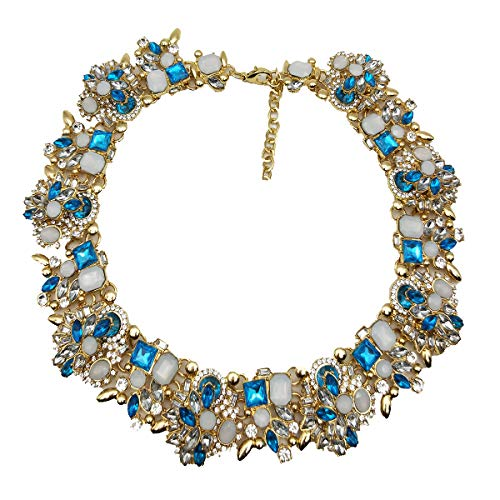 Formal Costume Jewelry (NABROJ Choker de Cristal Costume Jewelry for Women Blue Statement Necklace Fashion Drag Queen Jewelry-HLN001 Blue-1)