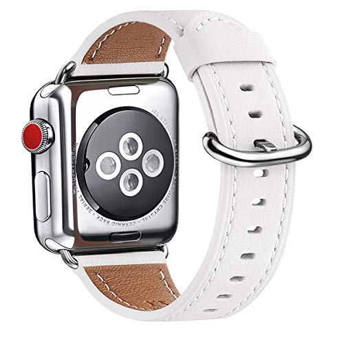 WFEAGL Compatible With iWatch Band 38mm 40mm 42mm 44mm, Top Grain Leather Band for iWatch SE & Series 6,Series 5,Series 4,Series 3,Series 2,Series 1,Edition(White Band+Silver Adapter, 38mm 40mm)