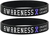 Inkstone (12-pack) Purple Awareness Ribbon Silicone Wristbands - Wholesale Pack of 1 Dozen Bracelets