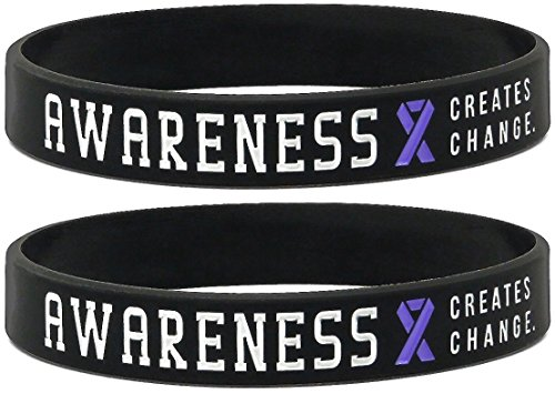Inkstone (12-pack) Purple Awareness Ribbon Silicone Wristbands - Wholesale Pack of 1 Dozen -