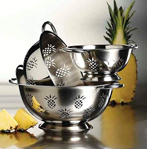 New Hight Quality Stainless Steel Deep 3 pcs. Colander Strainer Set - Pineapple