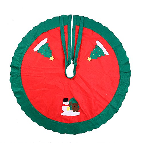 Christmas Xmas Tree Skirt Circle Snowman Pattern Base Cover Decoration Apron - Rug Christmas Tree