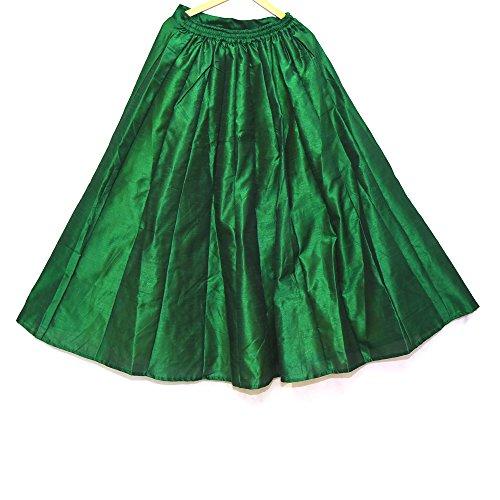 Girls Traditional Pleat Skirt - Shopolics Green Pleats Design Dupion Silk Skirt-23030For Party Wear, Wedding, Festival