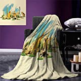 smallbeefly Landscape Throw Blanket Doha Historical Arabian Qatar Avant Garde Watercolor Panorama Brush Strokes Warm Microfiber All Season Blanket Bed Couch 50''x30'' Multicolor