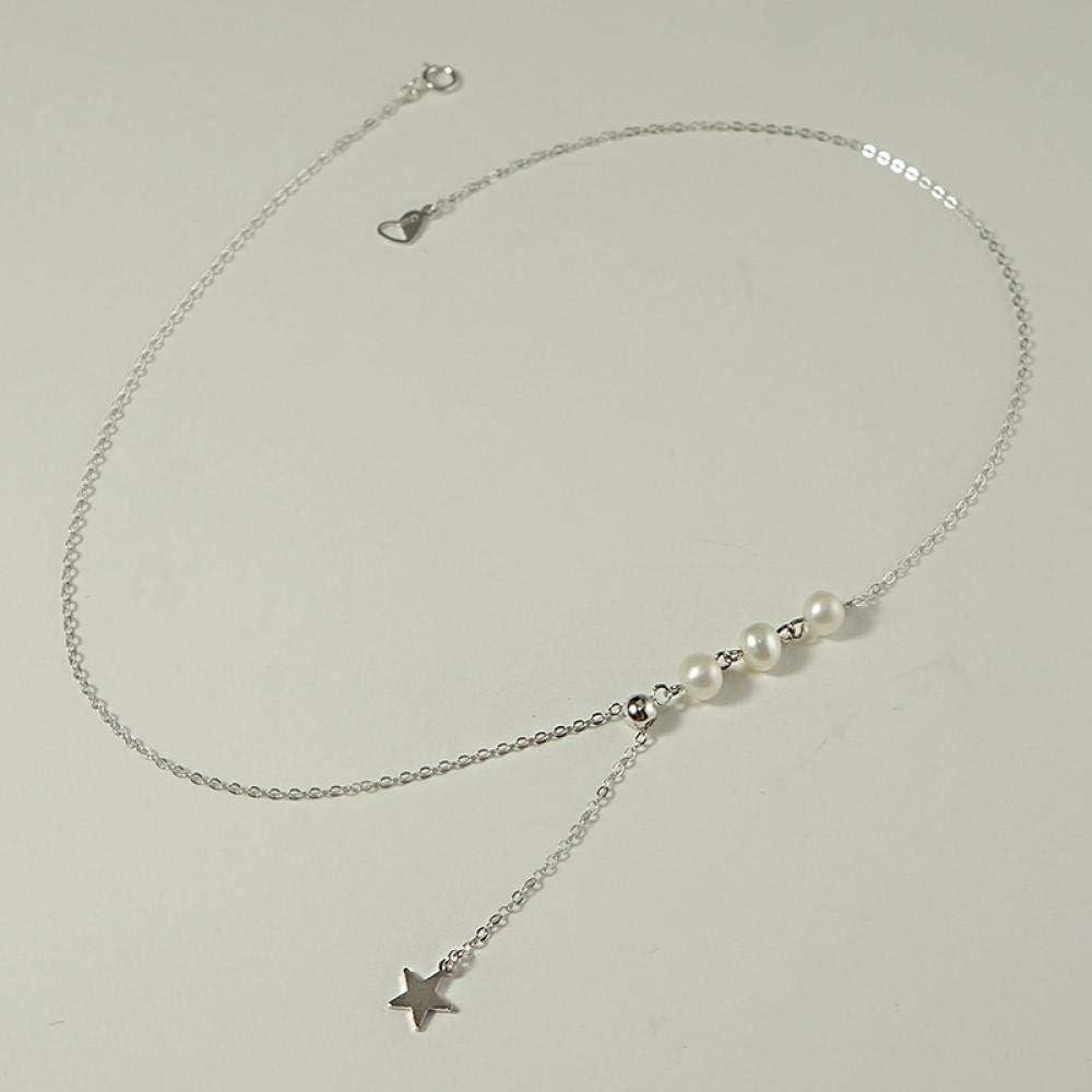 BAIMM Wild S925 Collar de Estrella de Perla Natural de Plata esterlina Cadena de clavícula de Estrella de Cinco Puntas Ajustable Joyería Elegante