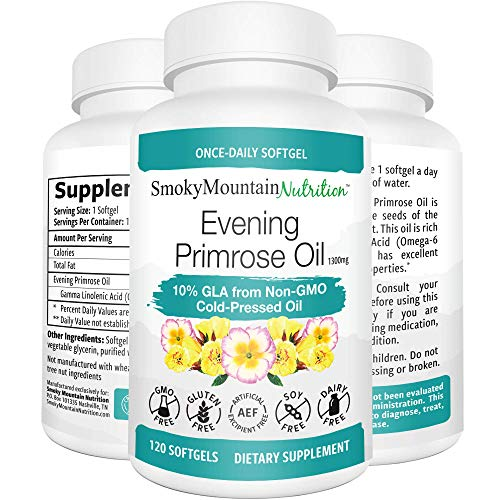 Evening Primrose Oil 1300mg (120 Softgels) 10% GLA from Cold-Pressed EPO Oil. Hexane-Free with No fillers or Artificial Ingredients; Non-GMO & Gluten Free ()