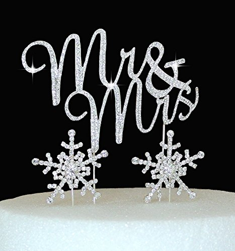 Lulu Sparkles LLC Crystal Rhinestone winter Wedding Monogram Mr & Mrs & Snow flakes Cake Topper Wedding Cake jewelry Bling Keepsake SET