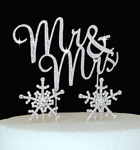 Lulu Sparkles LLC Crystal Rhinestone winter Wedding Monogram Mr & Mrs & Snow flakes Cake Topper Wedding Cake jewelry Bling Keepsake SET