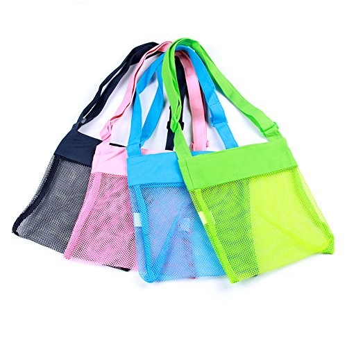 TGS Gems Adjustable Mesh beach Bags for Kids 8.5 x 9.5inch, 4pcs Sea Shell Bags Set-Blue, Pink, Green, Black Sacks for Shell Storage ()