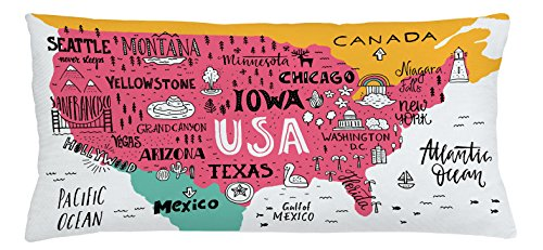 Lunarable USA Map Throw Pillow Cushion Cover, American Cities Calligraphy on Plan Arizona New York Chicago Cartoon, Decorative Square Accent Pillow Case, 36 X 16 Inches, Pink Marigold Teal White