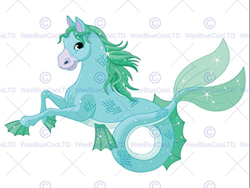 Painting Surreal Cartoon Mermaid Horse Fish Children Kids Poster Print