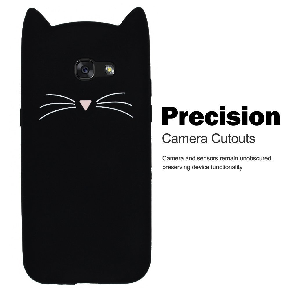 SevenPanda Silicone Cases for Samsung Galaxy A7 2016 / A710 3D Cat Design Cartoon Cute Cat Protective TPU Case with Anti Scratch Scratchproof Protective Shockproof Case - Black A710-HuXuMao-Hei
