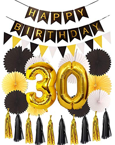 MEANT2TOBE 30th Birthday Party Decorations KIT - Happy Birthday Black Banner, 30th Gold Number Balloons, Gold and Black, Number 30, Perfect 30 Years Old Party -