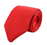 Secdtie Men Classic Solid Color Red Woven Silk Tie Formal Cotton Necktie 011