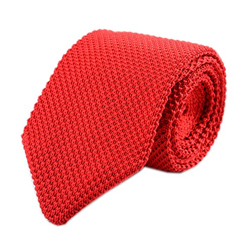 Secdtie Men Classic Solid Color Red Woven Silk Tie Formal Cotton Necktie 011