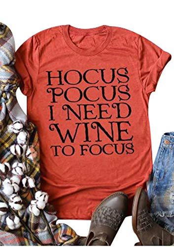 Women Hocus Pocus I Need Wine to Focus Shirt Short Sleeve O-Neck Casual Tee Tops Size S (Brick Red) -