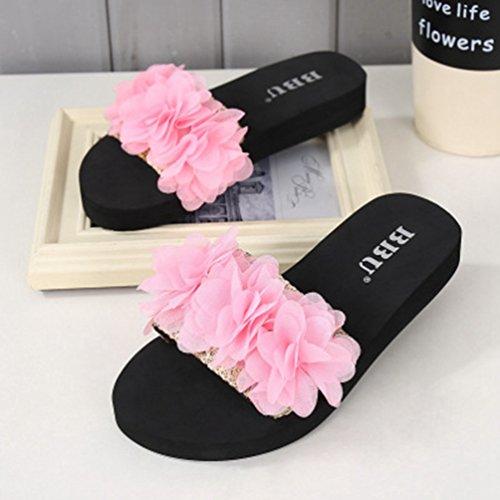 Anti Plage Sandales Rose Bohème Air Slide Femmes Plein Dentelle Plate De Mode dérapantes Jitian D'été En forme Fleur CeBrWdxo