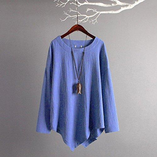 en à Femmes Femme Élégant Lâche Mi Haut Camisole Bleu Blouse Longue Casual Manches Shirt Beikoard Longues Lin T Chemise à Coton Longues Haut Femme Manches 1qzw71