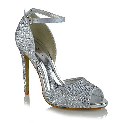 Heel Silver ESSEX Satin Sandals Diamante Toe Womens Satin Bridal High GLAM Sparkly Peep f4n4FPYxq