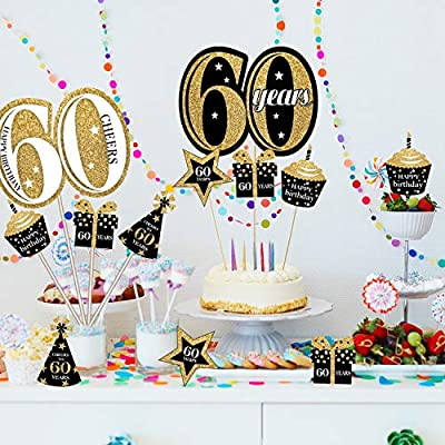Blulu Birthday Party Decoration Set Golden Birthday Party Centerpiece Sticks Glitter Table Toppers Party Supplies, 24 Pack (60th Birthday): Toys & Games