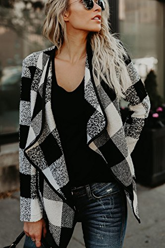 Occasionale Cardigan Aprono Giacca Prima Outwear Yacun Cappotto Scozzese Donne Black 8H1waTqxR