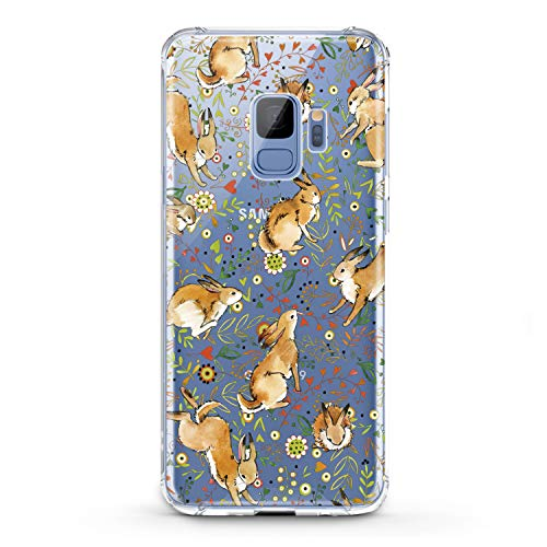 Lex Altern TPU Case for Samsung Galaxy A9 A8s A8 A7 A6s A5 A70 A50 Clear Bunny Cute Cover Rabbit Floral Animal Pattern Green Flower Lightweight Protective Transparent Flexible Girl Women Silicone