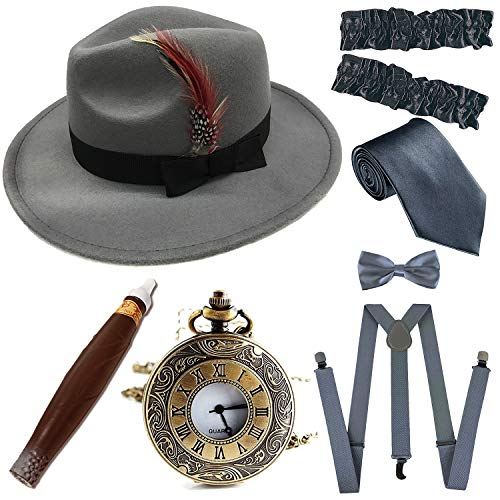 1920s Trilby Manhattan Fedora Hat, Plastic Cigar/Gangster Armbands/Vintage Pocket Watch, Grey -