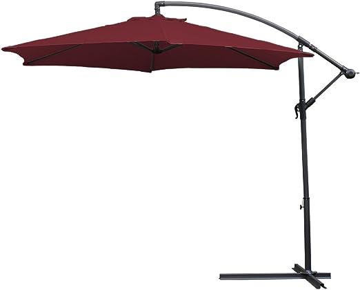 HG® 3.5m Jardín Sombrilla protección UV Para terraza jardín Exterior con Manivela Parasol Rojo: Amazon.es: Belleza